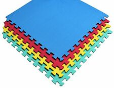16 SQ FT Interlocking EVA Soft Foam Exercise Floor Mats Play Area Multicoloured