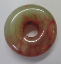 1 Agate Donut Shape Feature Bead Precious Stone 35mm In Red Green & Beige PST201