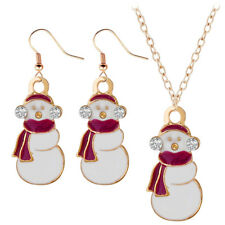 SNOWMAN NECKLACE & EARRING SET, GOLD PLATE WITH ENAMEL & RHINESTONE DETAIL