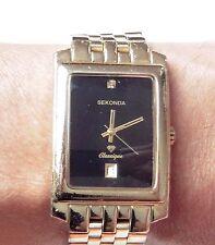 Gents Gold Plated Sekonda Classique Diamond Date Quartz Bracelet Watch, Working