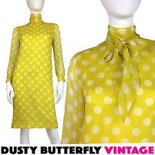 VINTAGE 60s CHIFFON DRESS Mod PUSSY BOW Tie Neck POLKA DOT Citron Size XS