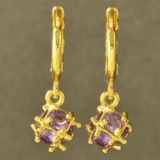 New Yellow Gold Filled Purple Amethyst CZ Cubic (Magic) Ball Dangle Earrings