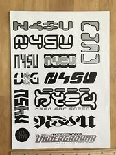 2003 NFSU / Need For Speed Underground Stickers / Sticker Sheet, Unused