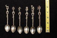 Demitasse Decorative Silver Plated Souvenir Spoon Italy Set 6 Vintage