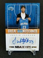 2018-19 Panini Great Significance Justin Jackson Auto RC /10 Magic Rookie NBA