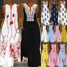 UK Women Vintage Sleeveless Maxi Long Dress Casual Loose Floral Summer Sundress