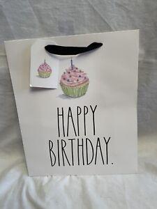 """Rae Dunn Happy Birthday Cupcake Candle Gift Bag 10"""" x 8"""" Gift Bag W/ Gift Tag"""