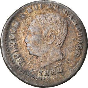 [#897584] Coin, Cambodia, Norodom I, 25 Centimes, 1860, EF, Silver, Lecompte:38