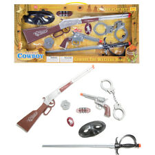 Kids Toy Guns Play Set Western Cowboy Revolver Pistols Rifle Sword Mask Handcuff