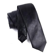 Men Black PU Faux Leather Skinny Thin Necktie Neck Tie Party Wedding