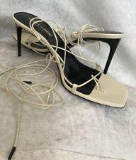 Saint Laurent Shoe Thin Leather Wrap Straps High Sandal Blk Heel New Size 40