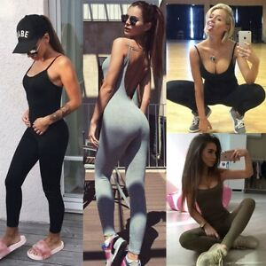 Womens One Piece Yoga Sport Gym Fitness Sleeveless Slim Suit Workout Jumpsuit