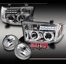 07-13 TOYOTA TUNDRA/08-15 SEQUOIA HALO LED CLEAR PROJECTOR HEAD LIGHT+FOG BUMPER
