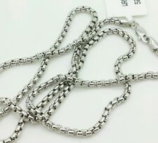 """14k White Gold Round Box Link Necklace Pendant Chain 24"""" 2.4mm"""