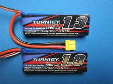 2 TURNIGY 1300mAh 2S 7.4 LIPO BATTERY 1/16 E-REVO 1/18 STADIUM TRUCK 4WD TRAXXAS