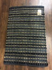 Black Grey Natural Jute Cotton Chindi Stripe Weave Woven Rug 90cm X 60cm