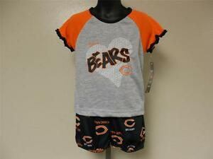NEW Chicago Bears GIRLS TODDLERS 3T NFL Team Apparel 2 Piece Pajama Set
