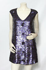 FRENCH CONNECTION Purple Cap Sleeve Sequined Beaded Shift Dress sz 6 EUC *DEFECT