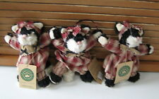 Boyds Plush Folk Cat Ornaments-Expresso Frisky-Set of 3