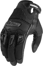 ICON Twenty-Niner Leather/Mesh Short Gauntlet Motorcycle Gloves (Black) L/Large