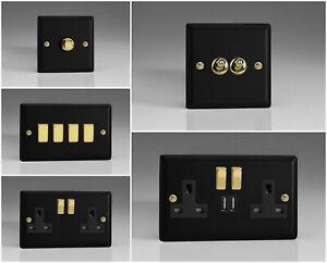 Varilight Vogue Matt Black Range - Black Inserts & Polished Brass Switches