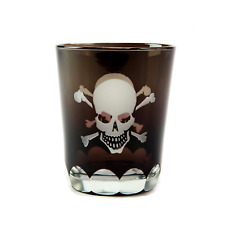 Double Shot Glass with Skull and Crossbones Design Nautical Themed Glass
