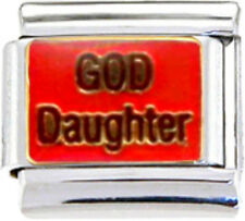 GOD DAUGHTER CHRISTENING RELIGIOUS Enamel Italian Charm 9mm-1x RE093 Single Link