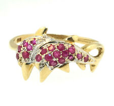 9ct Yellow Gold Ruby & Diamond Dolphin Cluster Ring (Size R) 11mm Wide