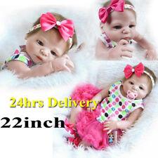22 inch Baby girl doll Full body Silicone Reborn Neborn Realistic Xmas Gift Toys