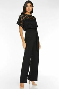 RRP £40, NEW Quiz Black Lace Batwing Sleeves Jumpsuit, SZ 10