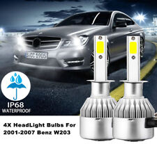 4X LED Headlight Bulbs For 01-07 Mercedes Benz W203 C-Class Sedan High/Low Beam