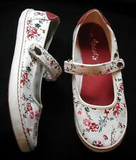 NEXT Girls Ivory floral Canvas shoes /pumps adjustable strap UK 3 EU 36 std fit