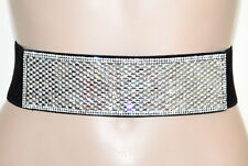 CEINTURE NOIR femme strass transparents corset élastique cristaux élégant G6