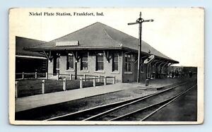1928 Frankfort, IN Postcard- NICKEL PLATE STATION - Railroad Depot Train- posted