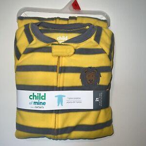 Carters Infant & Toddler Boys Yellow Fleece Lion Sleeper Pajamas 2T New
