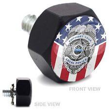 Vivid Black Billet Hex Air Cleaner Bolt Harley - POLICE BADGE USA FLAG - 154