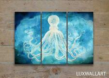 Octopus Triptych Nautical Coastal Metal Wall Art Print with Hangers