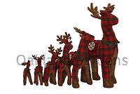 Standing Tartan Fabric Christmas Reindeer Decoration Stuffed Bells Snowflake