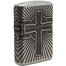 Zippo 29667, Celtic Cross-2 Sided, Armor, Antique Silver Plated Lighter