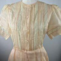 Albert Nipon Boutique Vintage SZ 6 Dress Pleated Sheer Blush