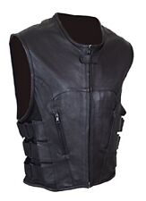 Mens Bikers Waistcoat Real Sexy SWAT Style Black Leather Vest