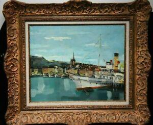Tableau Scene de port. Francis LODS 1963