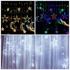 3.5M Twinkling Star Moon LED Curtain Lights Remote Control Fairy String Lights