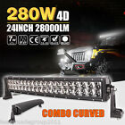 4D+ Cree 24inch 280W Curved LED Work Light Bar Spot Flood Combo 4WD Boat Offroad