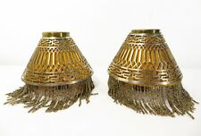 Antique Pierced Silver Beaded Candle Lamp Shade Pair W/ Liner Holders Art Deco