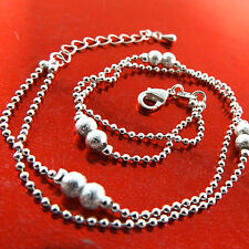 New listing Anklet Real 925 Sterling Silver S/F Solid Ladies Bead Link Design 25Cm Fs3A781