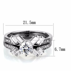 Womens 5x5mm Round CZ Prong set Center Stainless Wedding Anniversary RINGS SET