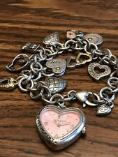 Brighton Power Of Pink Heart Watch Charm Bracelet  Needs Battery 11 Charms