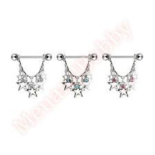 Gem Multi Star Dangle Nipple Shield Bar Ring Jewellery CHOOSE SINGLE OR PAIR