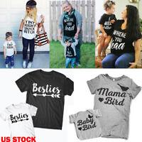 US Family Matching Outfits Mother Daughter Women Girls Tops Short Sleeve T-Shirt